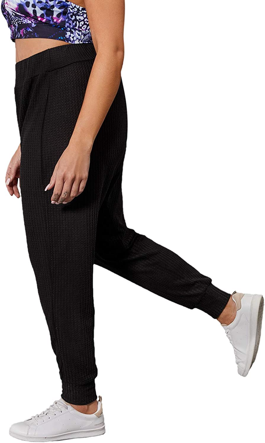 SheIn Womens Plus High Elastic Waist Long Sweatpants Waffle Knit Solid Joggers