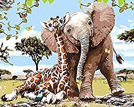 Wwbqcl Giraffe and Baby Elephant with Frame by Digital 5D DIY Painting Modern Mural Image or Adult Children's Beginner Acrylic Canvas Painting, Oil Painting, Children's Handcraft