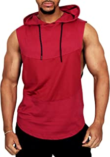 PAIZH Men's Workout Sleeveless Shirt See Through Pattern Stringer Hooded Tank Top