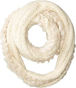 BSS3544 Crochet Infiniti Knit Scarf with Fur Trim
