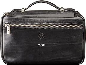 Maxwell Scott Personalized Italian Leather Travel Cosmetic Case - Cascina Black