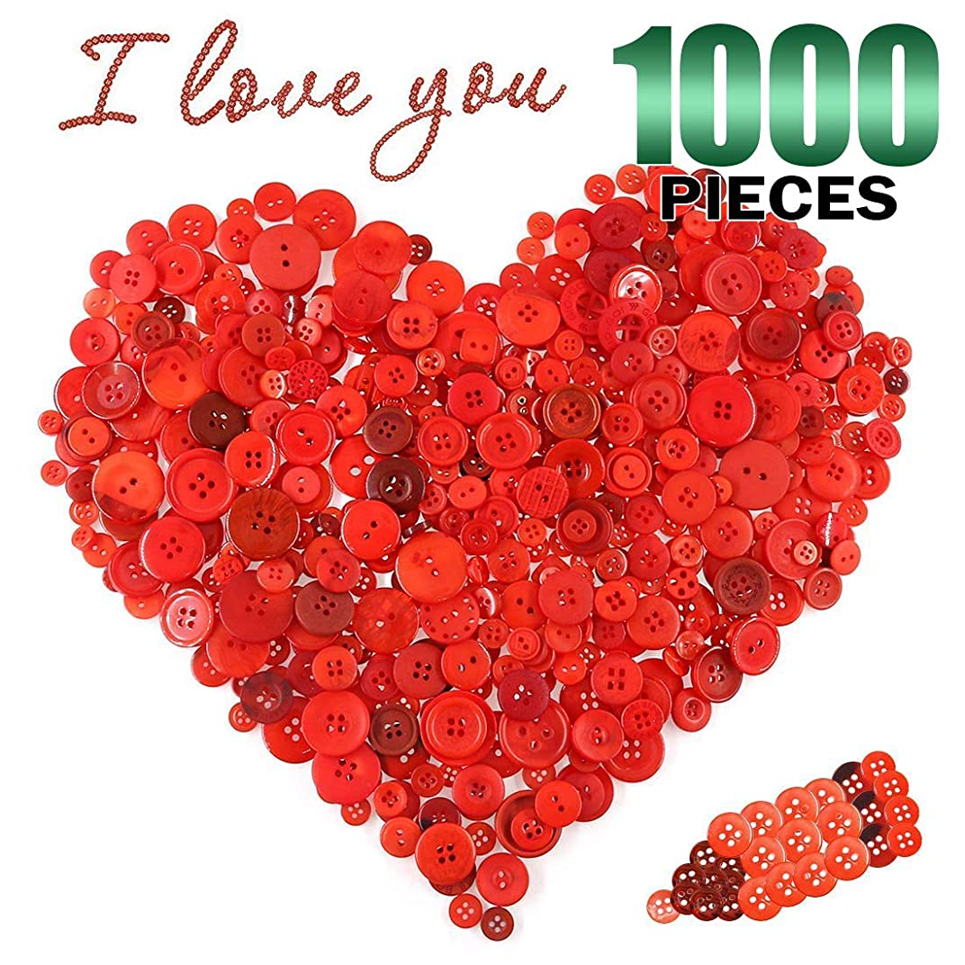 Keadic 1000PCS Buttons Favorite Findings Basic Resin 2 and 4 Holes for DIY Crafts Sewing Christmas Party Decorations (Deep Red)