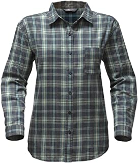 The North Face Long Sleeve Boyfriend Shirt Ink Blue Plaid Womens Long Sleeve Button Up