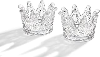 Studio Silversmiths Clear Glass Crown Design Votive Tea Light Candle Holders, Set of 2