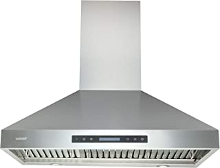 "Range Hoods 36 Inch - EKON Wall Mount Range Hood Stainless Steel 900 CFM, Island Range Hood Touch Panel Control With Remote And LCD Display / 4 Pcs 3W Led Lamp/Dishwasher Baffle Filters(NAP04-36"")"