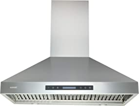 Range Hoods 36 Inch - EKON Wall Mount Range Hood Stainless Steel 900 CFM, Touch Panel Control With Remote And LCD Display ...