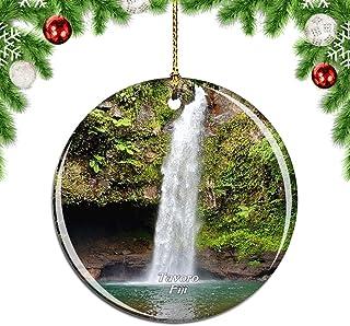 Weekino Fiji Tavoro Waterfalls Christmas Xmas Tree Ornament Decoration Hanging Pendant Decor City Travel Souvenir Collection Double Sided Porcelain 2.85 Inch