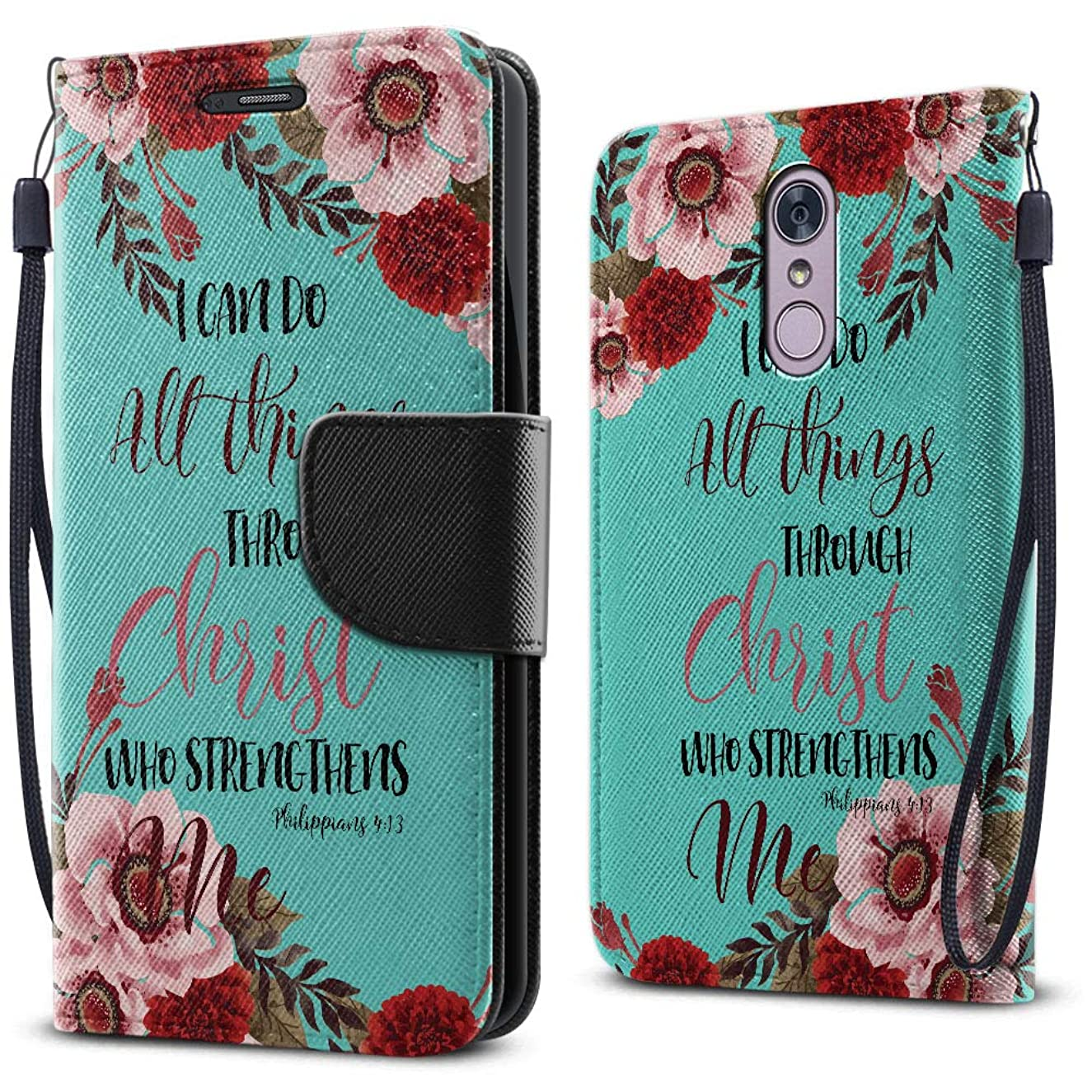 FINCIBO Case Compatible with LG Stylo 4, Fashionable Flap Wallet Pouch Cover Case + Card Holder Kickstand for LG Stylo 4 - Christian Bible Verses Philippians 4:13