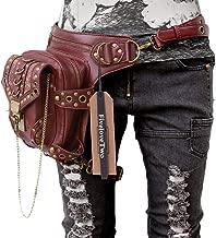 FiveloveTwo Men Women Steampunk Fanny Packs Multi-Purpose Tactical Drop Leg Arm Bag Pack Hip Belt Waist Messenger Shoulder Bag Wallet Purse Pouch Brown