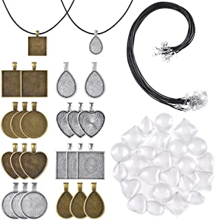 PP OPOUNT 60 Pieces Pendant Trays Set Including 8 Styles Pendant Trays, 24Pieces Bright Glass Cabochon Dome Tiles,12 Pieces Black Waxed Necklace Cord for Photo Pendant DIY Jewelry Making