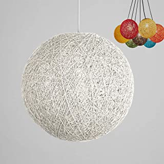 ✨Modern Lattice Wicker Rattan Globe Ball Style Ceiling Pendant Light Lampshade Creative Personality bar, Coffee Shop, Bedroom, Restaurant Home Simple Decoration Lighting (White, 23cm)