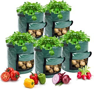 Vitog 5-Pack 7 Gallon Grow Bags for Potatoes Thickened Garden Plants Grow Bags with Handheld Large Harvest Window Portable...