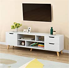 Naiflowers TV Stand, TV Console, Modern Storage Console Entertainment Center for Flat Screen TV Cable Box Gaming Consoles Media Stand with 2 Drawers, for Living Room Entertainment Room Office (White)