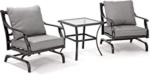 Grand patio 3 PCS Outdoor Conversation Set Patio Furniture Set Metal K/D Chat Set Rocking Chair with Gray Comfortable Cushions for Garden Lawn & Poolside