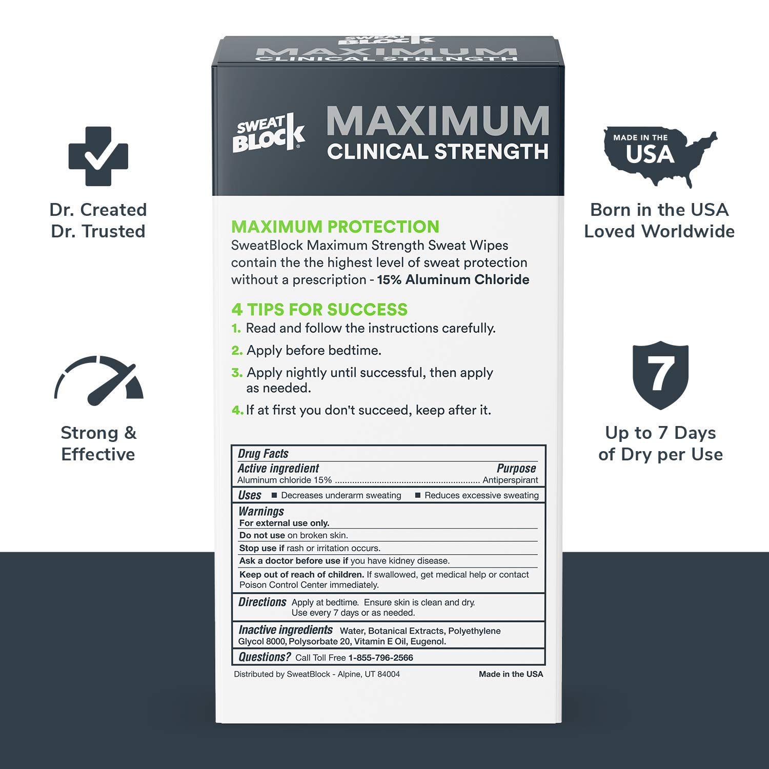 SweatBlock Maximum Strength Antiperspirant Sweat Wipes - For Excessive Sweat Protection - Extra Large - Up to 7 day protection per use - 10 Count - Unisex: Beauty