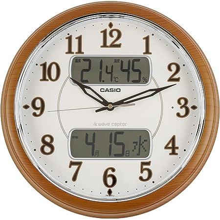 CASIO(カシオ) 掛け時計 電波 ブラウン 直径35.3cm アナログ 常時点灯 野鳥のさえずり 時報機能 温度 湿度 カレンダー 表示 ITM-900FLJ-5JF