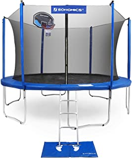 SONGMICS Trampoline with Enclosure 12,14 Feet for Kids with Basketball Hoop and Backboard Net Jumping Mat and Safety Spring Cover Padding TÜV Rheinland Certificated According to ASTM and GS