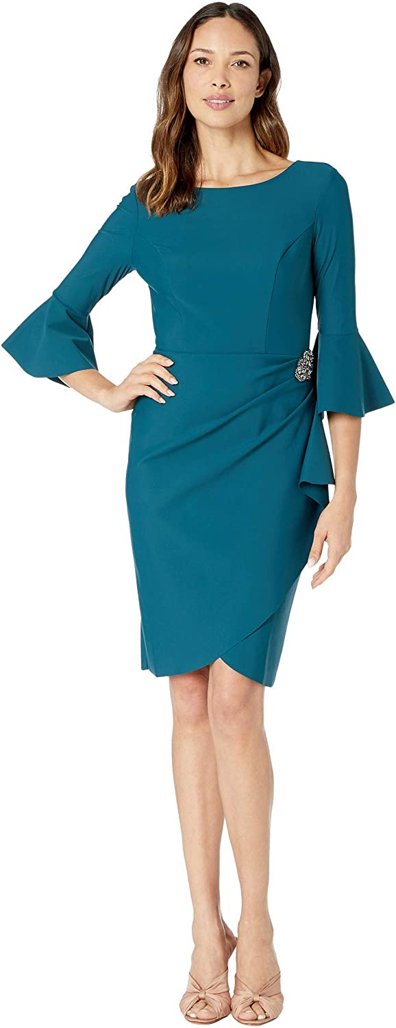 Slimming Short Dress with Bell Sleeves (Petite and Regular)
