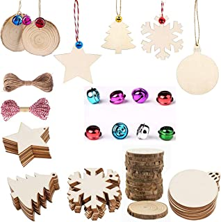 50 PCS Unfinished Wooden Ornaments, Zoleland Predrilled Natural Wood Slices 5 Style Craft Wood Kit 50 PCS Colorful Bells for Christmas Ornaments Hanging Decorations,Arts and DIY Crafts
