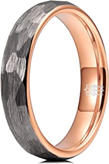 THREE KEYS JEWELRY Hammered Tungsten Wedding Rings 4mm 6mm 8mm Grey Rose Gold Inner Engagement Band