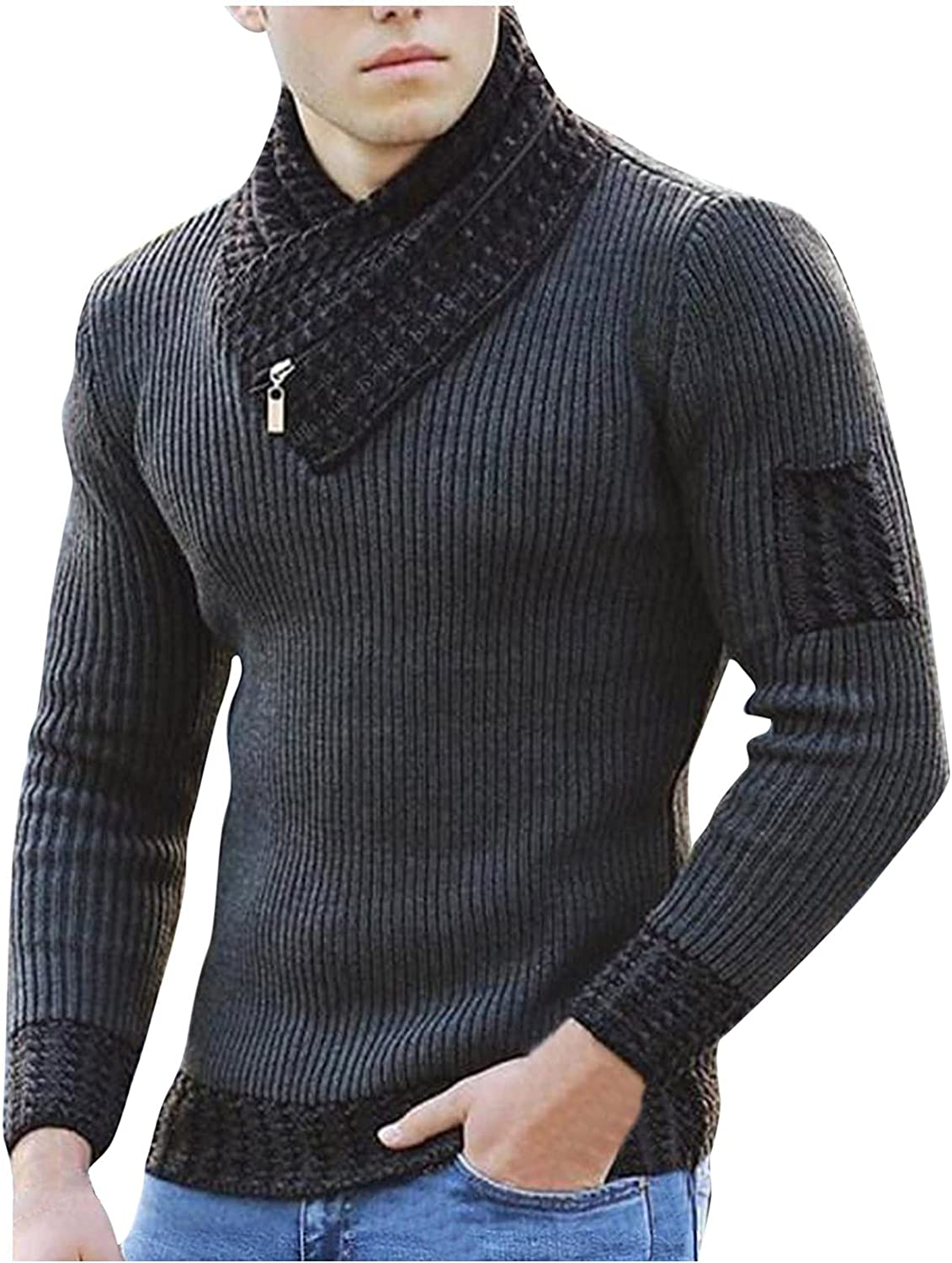 Men's England Size Solid Color Scarf High Collar Sweater Pullover