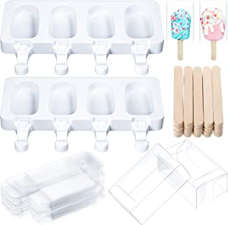 Perthlin 72 Pieces Silicone Popsicle Mould Set, Including 2 Pieces 4 Cavities Homemade Ice Cream Mould with 20 Cakesicle C...