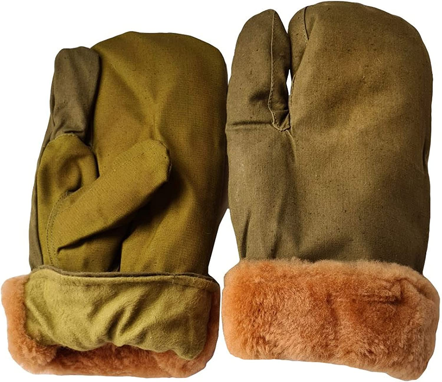 Russian military Winter Khaki gloves Warm mittens with fur Russian tactical gloves Men's work gloves
