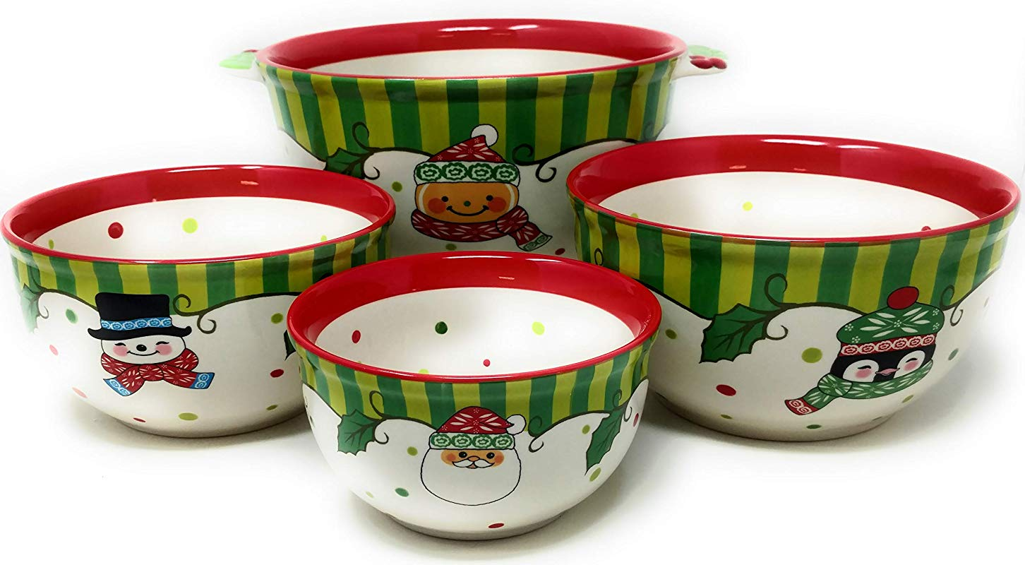 Temptations Set Of 4 Bowls Mixing Serving Prep Winter Whimsy 4pc