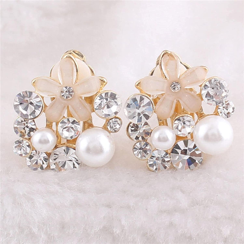 MENG Rhinestone Opal Flower Simulated Pearl Water Drop s Clip on Ears No Pierced for Women Fashion Bride Ear Clip,White