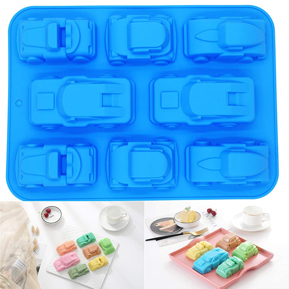 PONECA Silicone Molds Soap Molds 8 Cavity House &Car Shape Cake?DIY for Homemade Cake? Soap Jelly Pudding Chocolate Baking molds (Car Shape)