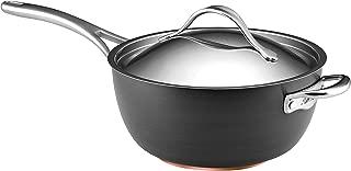 Anolon 82527 Nouvelle Copper Hard Anodized Nonstick Sauce Pan/ Saucepan/ Saucier with Helpder Handle, 5.5 Quart, Gray