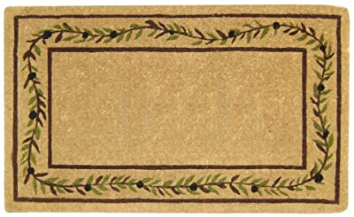 """Nedia O2227 Not Applicable Heavy Duty 22"""" x 36"""" Coco Mat Olive Branch Border, Plain"""