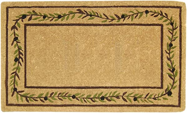 Nedia O2227 Not Applicable Heavy Duty 22 X 36 Coco Mat Olive Branch Border Plain