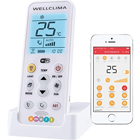Wellclima Télécommande intelligente, universelle, Wi-Fi, pour climatiseur, avec fonction d'allumage et de contrôle à distance du climatiseur via l'application mobile