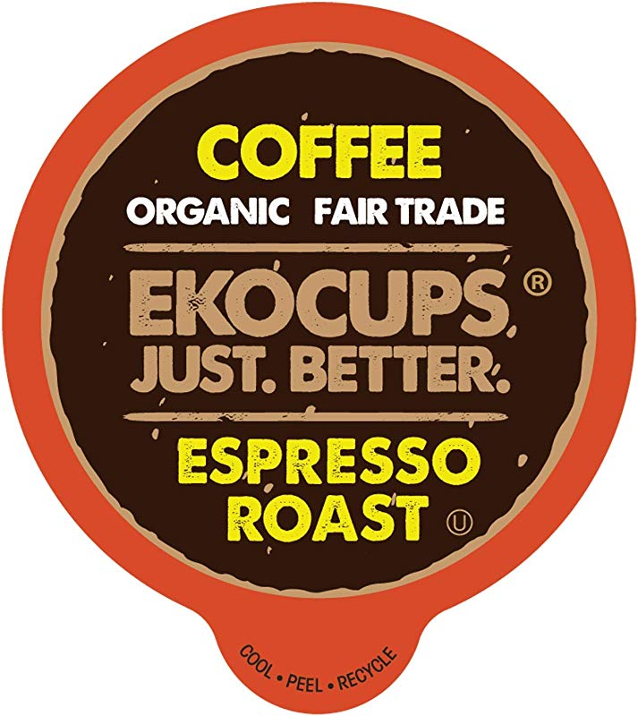 EKOCUPS Artisan Organic Espresso Roast Hot Or Iced Coffee In Recyclable Single Serve Cups For Keurig K Cup Brewers 20 Count
