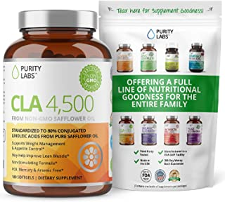 Purity Labs CLA 4,500MG Safflower Oil Number One Weight Loss Fat Burner Supplement 180 Softgels Non-GMO & Gluten Free Conj...