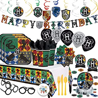 Harry Potter Magical Wizard Birthday Party Supplies Pack With Decorations For 16 Guests With Plates, Cups, Napkins, Tablecover, Birthday Banner, Balloons, Cutlery, and Wizard Glasses Plus Birthday Pin