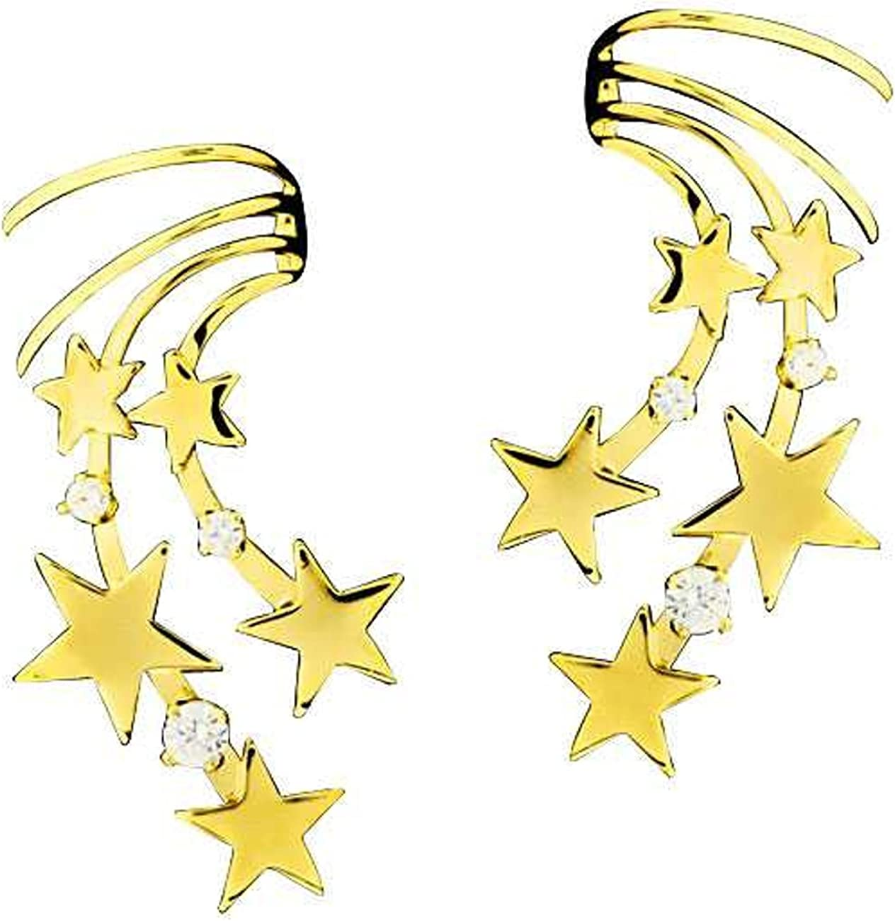 Gold Vermeil Left And Right Pierceless Celestial Stars Ear Cuff Wraps