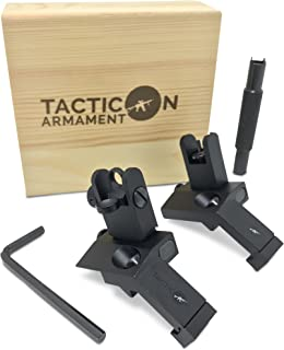 TACTICON 45 Degree Offset Flip Up Iron Sights for Rifle Includes Front Sight Adjustment Tool | Rapid Transition Backup Front and Rear Iron Sight BUIS Set Picatinny Rail and Weaver Rails