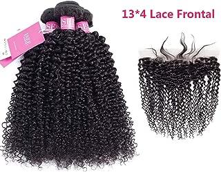 ISEE Hair 9A Grade Mongolian Hair Extension Virgin Human Hair Weaving 3 Bundles Kinky Curly Hair With 134 Lace Frontal 100% Human Hair Extension Mongolian Virgin Hair(18 20 22&16'' lace frontal)