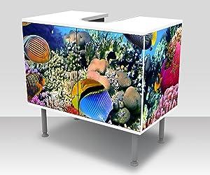 wandmotiv24 Badunterschrank Arrecife de Coral con Peces Diseño baño Armario M0480 Frente y Lados pegando gabinete de la vanidad