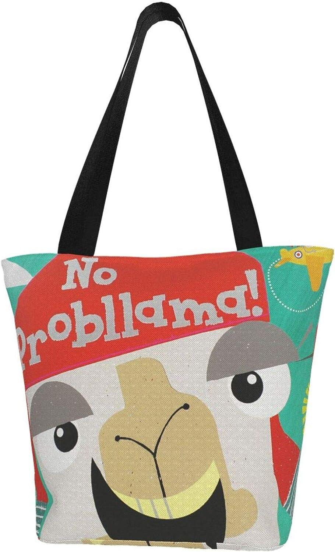 No Prob-Llama Naughty Cartoon Themed Printed Women Canvas Handbag Zipper Shoulder Bag Work Booksbag Tote Purse Leisure Hobo Bag For Shopping
