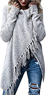 Womens Knit Cardigans Sweaters Long Sleeve Cowl Neck Wrap Fringe Tops