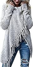 Gemijack Womens Knit Cardigans Sweaters Long Sleeve Cowl Neck Wrap Fringe Tops