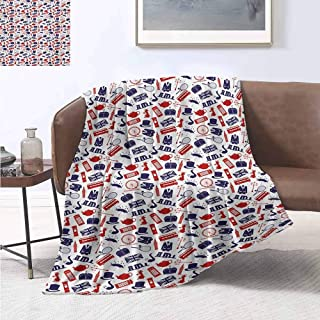 jecycleus London Luxury Special Grade Blanket United Kingdom Country Themed Symbols Pattern in National Flag Colors Multi-Purpose use for Sofas etc. W55 by L55 Inch Royal Blue Red White