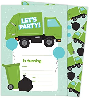 Garbage Truck Design 2 Happy Birthday Invitations Invite Cards (25 Count) With Envelopes and Seal Stickers Vinyl Girls Kids Party (25ct)