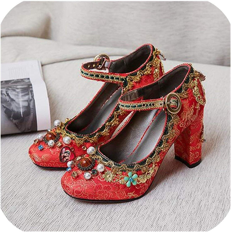 Hot Rock -sandaler Retro röd Embroideröd bröllop Dress skor kvinna Mary Janes High klackar Sexy Beading kvinnor Pump Stiletto Valentine skor