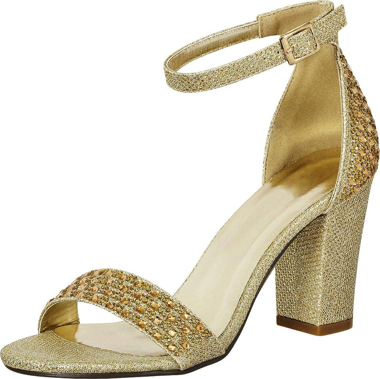 Cambridge Select Women's Open Toe Crystal Rhinestone Ankle Strappy Block Heel Sandal