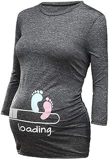 Allence Weihnachten Umstandsmode Frauen Mutterschaft Kurzarm Print Tops Schwangerschaft T-Shirt Kleidung Rundhalsausschnitt schwangeren Frau