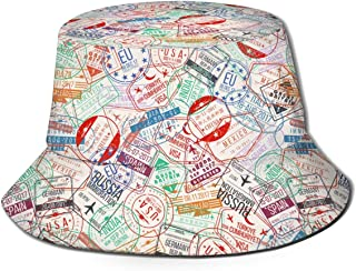 Bucket Hat Packable Reversible Passport Stamp Print Sun Hat Fisherman Hat Cap Outdoor Camping Fishing Safari for Men Women Black